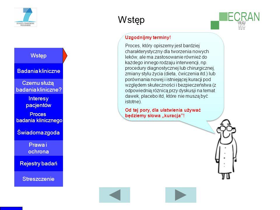 Wstęp Badania kliniczne Czemu służą badania kliniczne? Proces badania klinicznego Świadoma zgoda Interesy pacjentów Prawa i ochrona Rejestry badań Str