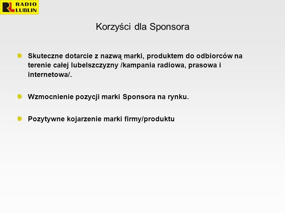 Korzyści dla Sponsora Skuteczne dotarcie z nazwą marki, produktem do odbiorców na terenie całej lubelszczyzny /kampania radiowa, prasowa i internetowa