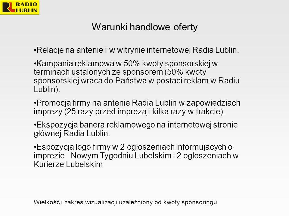 Warunki handlowe oferty Relacje na antenie i w witrynie internetowej Radia Lublin. Kampania reklamowa w 50% kwoty sponsorskiej w terminach ustalonych