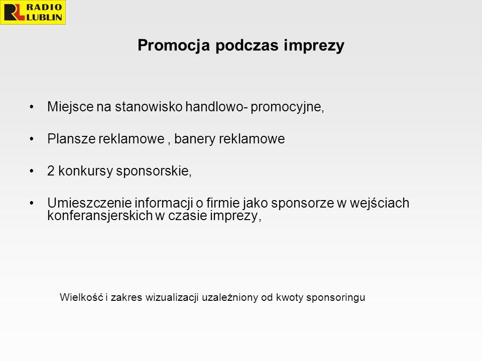 Promocja podczas imprezy Miejsce na stanowisko handlowo- promocyjne, Plansze reklamowe, banery reklamowe 2 konkursy sponsorskie, Umieszczenie informac