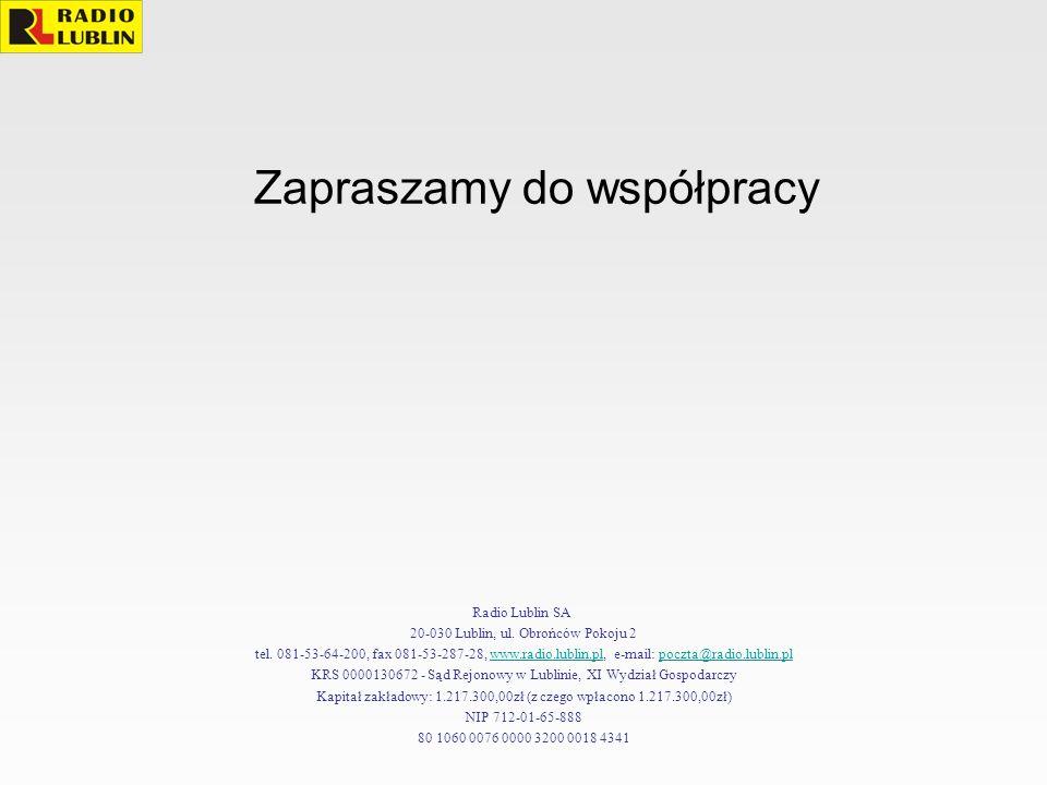 Zapraszamy do współpracy Radio Lublin SA 20-030 Lublin, ul. Obrońców Pokoju 2 tel. 081-53-64-200, fax 081-53-287-28, www.radio.lublin.pl, e-mail: pocz