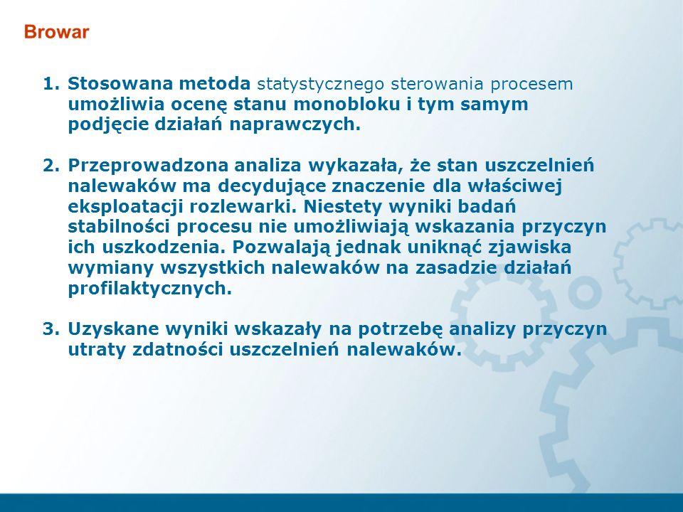 1.Stosowana metoda statystycznego sterowania procesem umożliwia ocenę stanu monobloku i tym samym podjęcie działań naprawczych. 2.Przeprowadzona anali