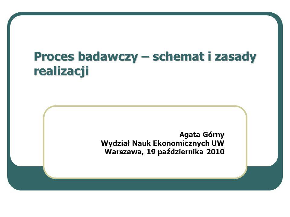 Proces badawczy – schemat i zasady realizacji Agata Górny Wydział Nauk Ekonomicznych UW Warszawa, 19 października 2010