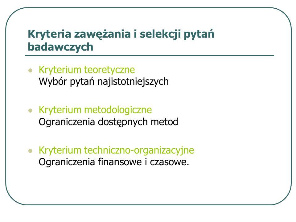 Kryteria zawężania i selekcji pytań badawczych Kryterium teoretyczne Wybór pytań najistotniejszych Kryterium metodologiczne Ograniczenia dostępnych me