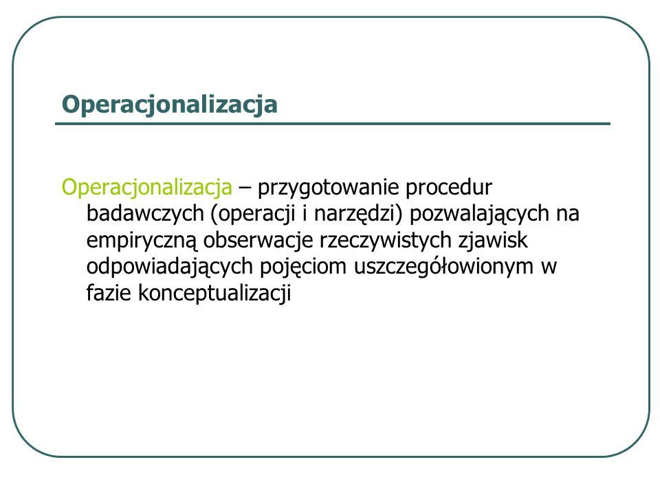 Operacjonalizacja Operacjonalizacja – przygotowanie procedur badawczych (operacji i narzędzi) pozwalających na empiryczną obserwacje rzeczywistych zja