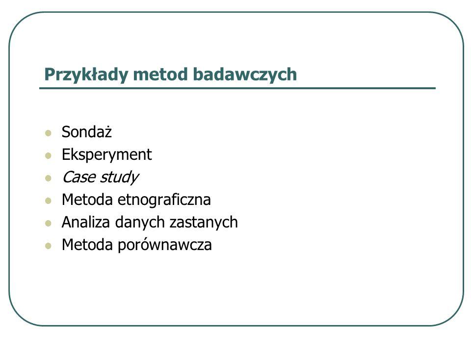 Przykłady metod badawczych Sondaż Eksperyment Case study Metoda etnograficzna Analiza danych zastanych Metoda porównawcza