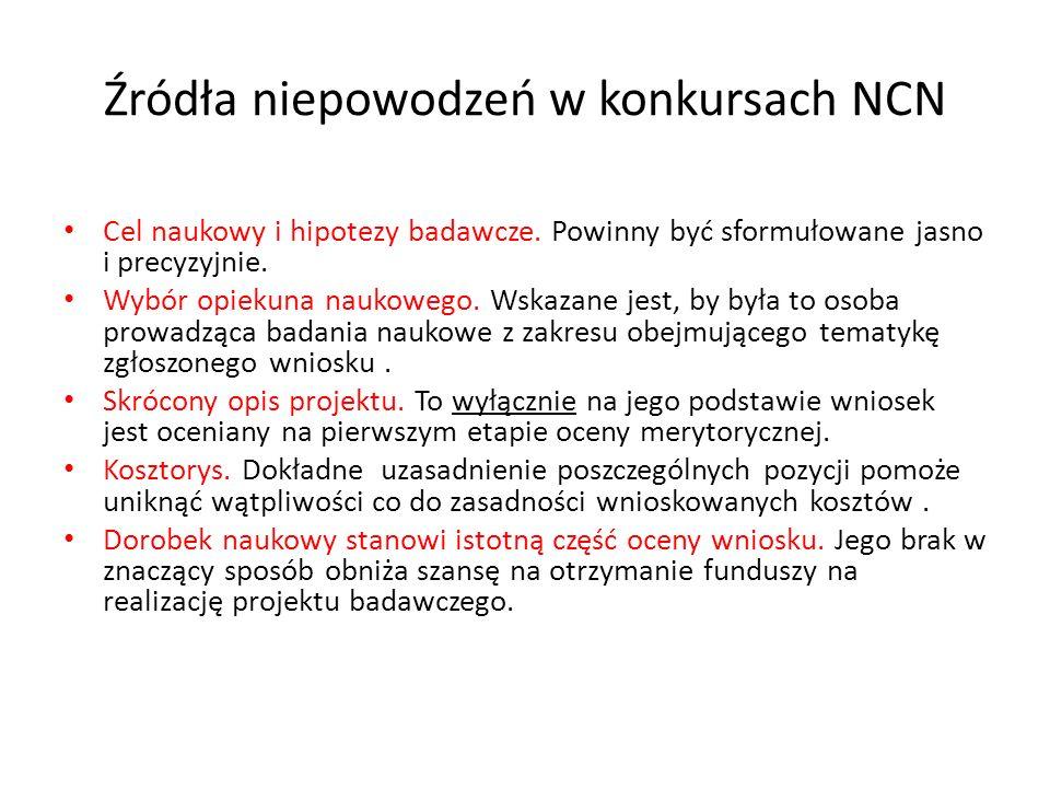 Źródła niepowodzeń w konkursach NCN Cel naukowy i hipotezy badawcze. Powinny być sformułowane jasno i precyzyjnie. Wybór opiekuna naukowego. Wskazane