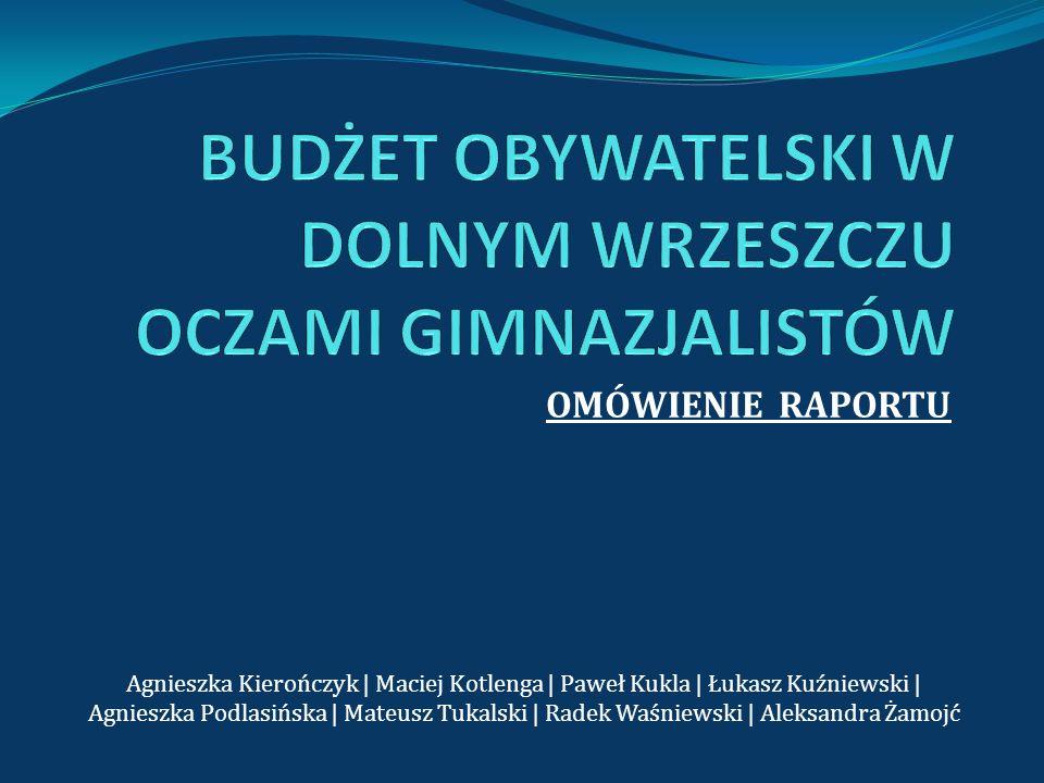 OMÓWIENIE RAPORTU Agnieszka Kierończyk | Maciej Kotlenga | Paweł Kukla | Łukasz Kuźniewski | Agnieszka Podlasińska | Mateusz Tukalski | Radek Waśniews