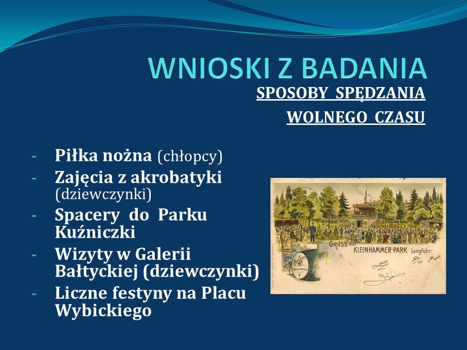SPOSOBY SPĘDZANIA WOLNEGO CZASU - Piłka nożna (chłopcy) - Zajęcia z akrobatyki (dziewczynki) - Spacery do Parku Kuźniczki - Wizyty w Galerii Bałtyckie