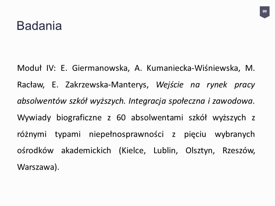 Badania Moduł IV: E.Giermanowska, A. Kumaniecka-Wiśniewska, M.