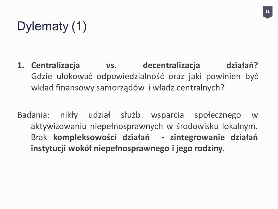 Dylematy (1) 1.Centralizacja vs.decentralizacja działań.