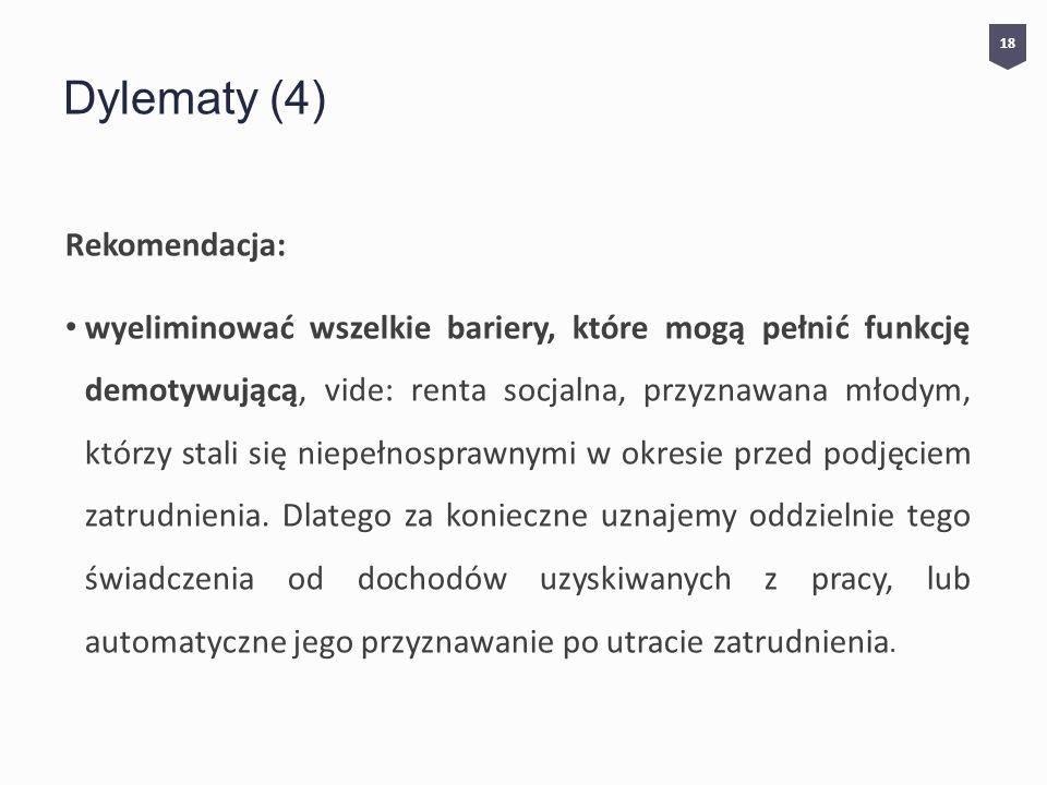 Dylematy (4) Rekomendacja: wyeliminować wszelkie bariery, które mogą pełnić funkcję demotywującą, vide: renta socjalna, przyznawana młodym, którzy stali się niepełnosprawnymi w okresie przed podjęciem zatrudnienia.