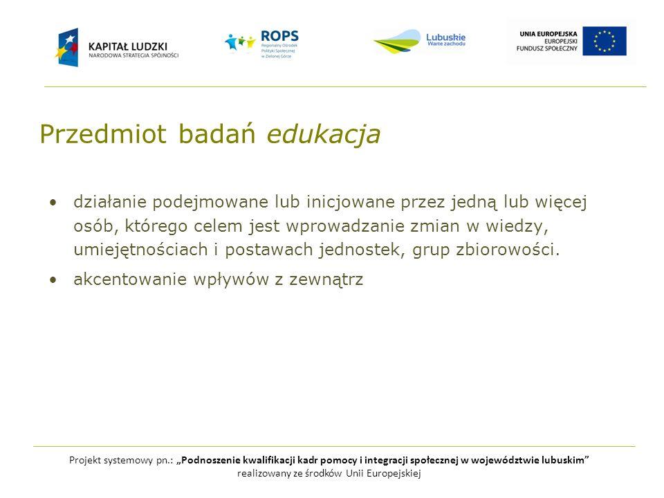Projekt systemowy pn.: Podnoszenie kwalifikacji kadr pomocy i integracji społecznej w województwie lubuskim realizowany ze środków Unii Europejskiej edukacja formalna pozaformalna nieformalna