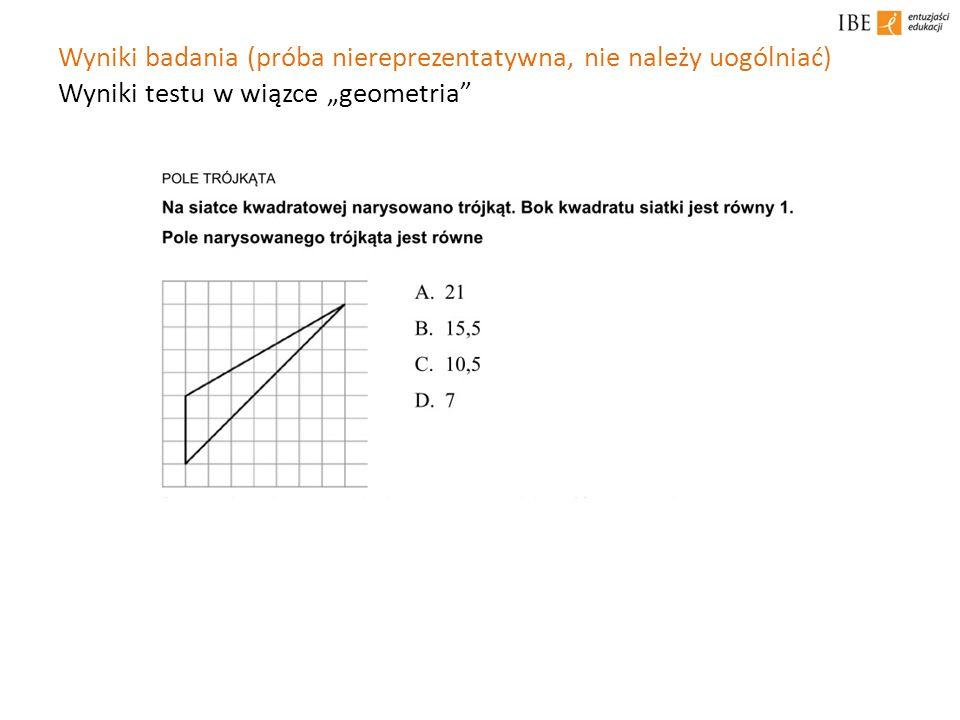 Wyniki badania (próba niereprezentatywna, nie należy uogólniać) Wyniki testu w wiązce geometria