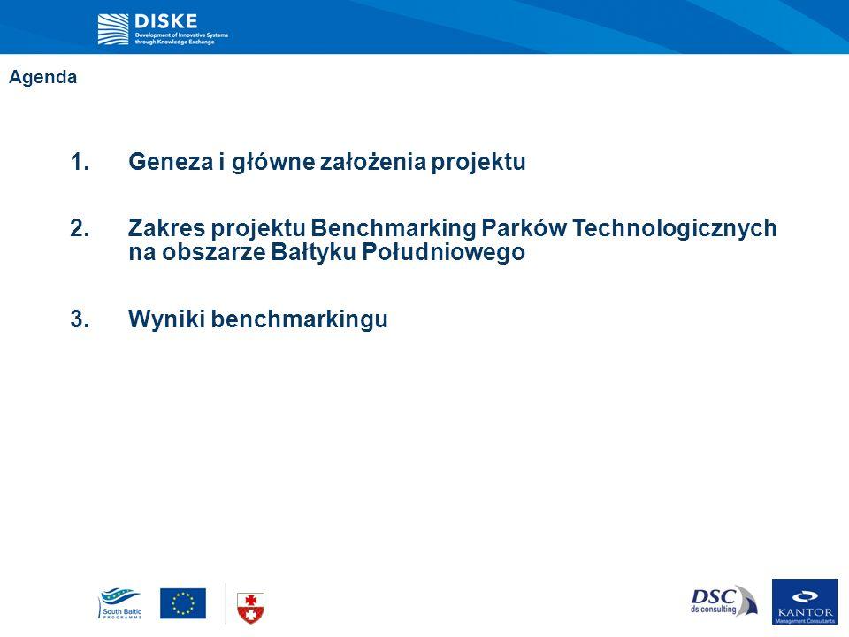 Agenda 1.Geneza i główne założenia projektu 2.Zakres projektu Benchmarking Parków Technologicznych na obszarze Bałtyku Południowego 3.Wyniki benchmark