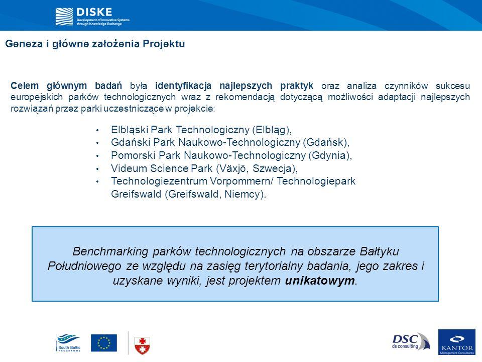 Geneza i główne założenia Projektu Celem głównym badań była identyfikacja najlepszych praktyk oraz analiza czynników sukcesu europejskich parków techn