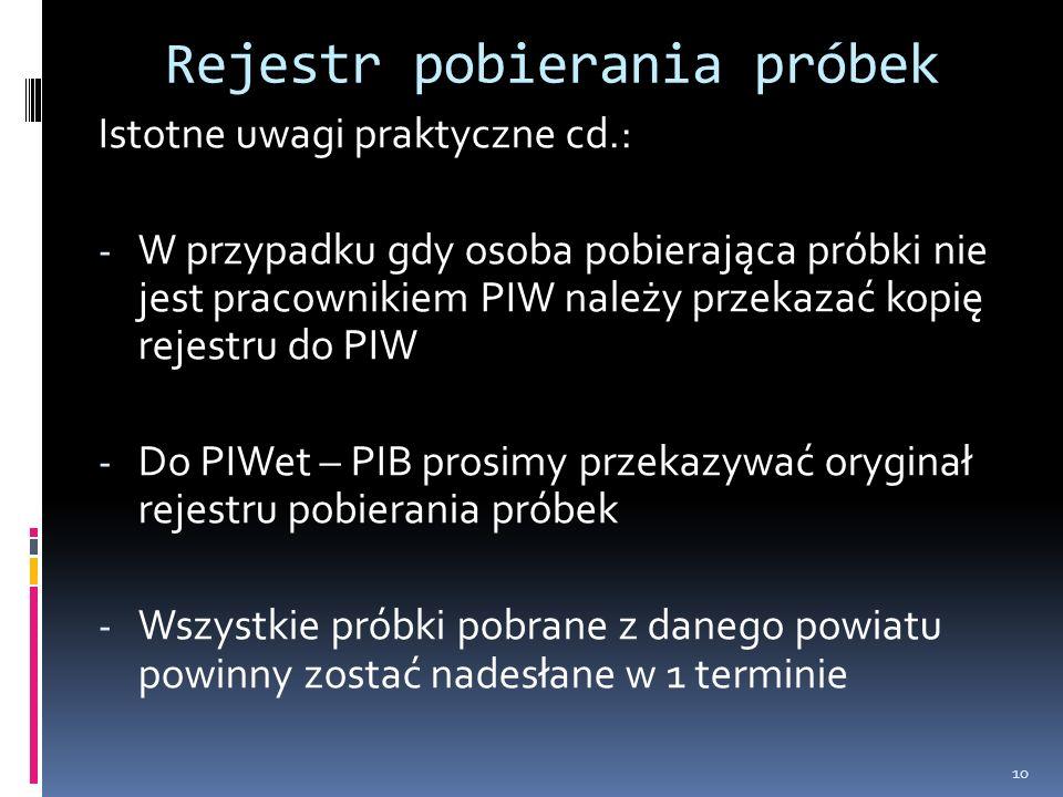 Rejestr pobierania próbek Istotne uwagi praktyczne cd.: - W przypadku gdy osoba pobierająca próbki nie jest pracownikiem PIW należy przekazać kopię rejestru do PIW - Do PIWet – PIB prosimy przekazywać oryginał rejestru pobierania próbek - Wszystkie próbki pobrane z danego powiatu powinny zostać nadesłane w 1 terminie 10