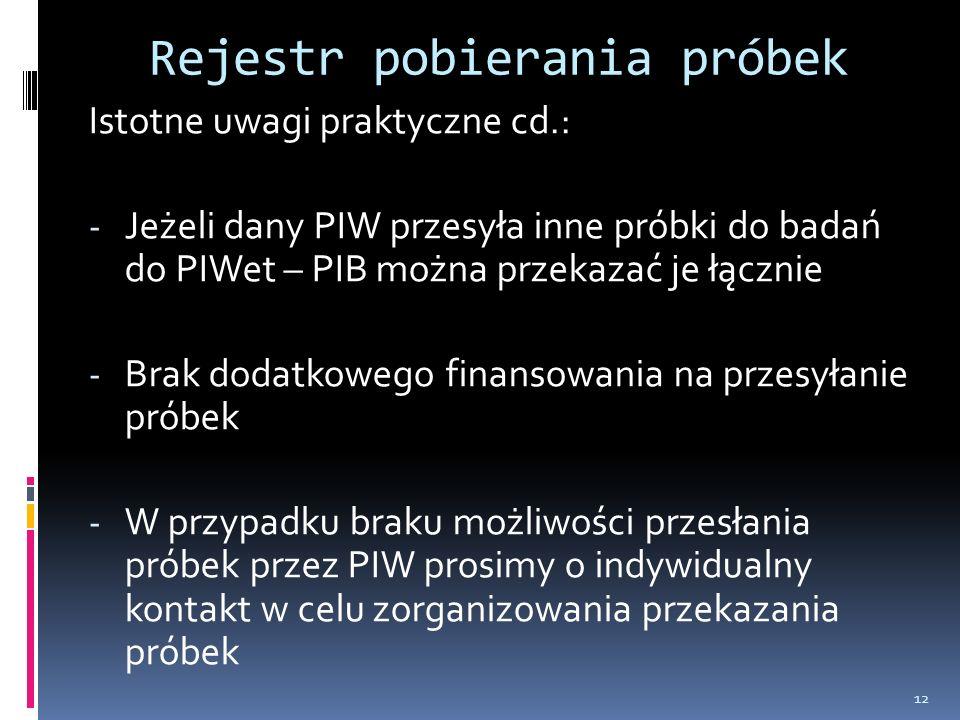 Rejestr pobierania próbek Istotne uwagi praktyczne cd.: - Jeżeli dany PIW przesyła inne próbki do badań do PIWet – PIB można przekazać je łącznie - Brak dodatkowego finansowania na przesyłanie próbek - W przypadku braku możliwości przesłania próbek przez PIW prosimy o indywidualny kontakt w celu zorganizowania przekazania próbek 12