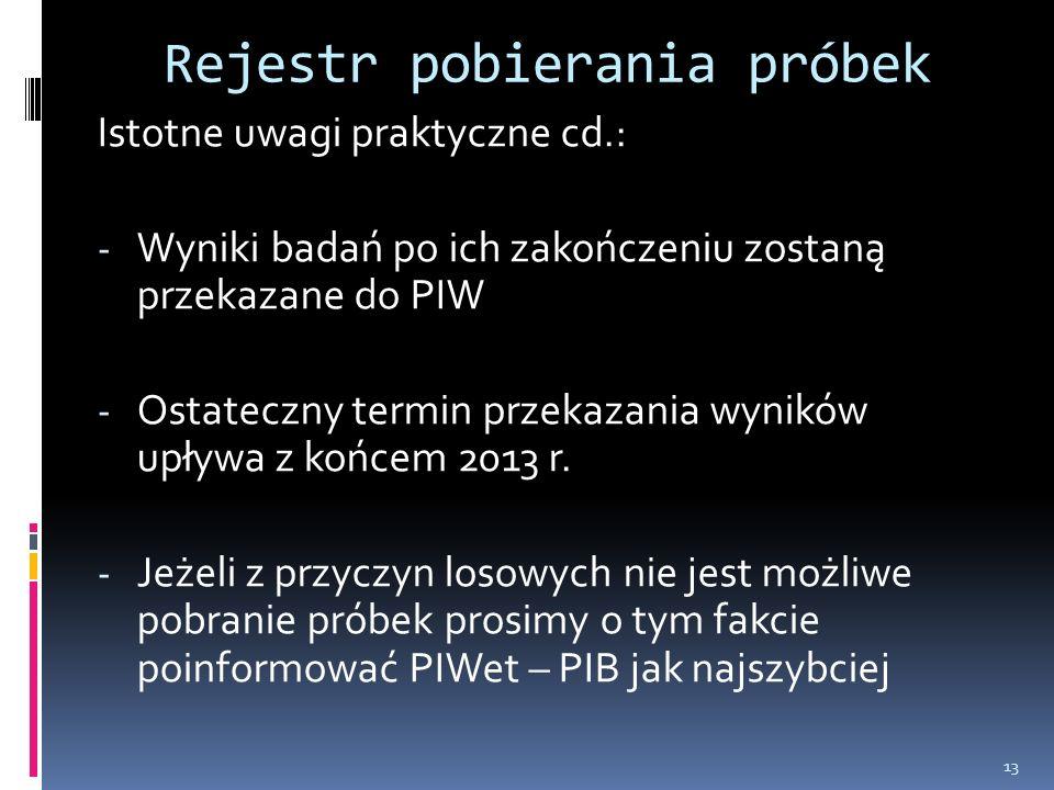 Rejestr pobierania próbek Istotne uwagi praktyczne cd.: - Wyniki badań po ich zakończeniu zostaną przekazane do PIW - Ostateczny termin przekazania wyników upływa z końcem 2013 r.