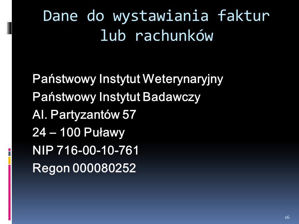 Dane do wystawiania faktur lub rachunków Państwowy Instytut Weterynaryjny Państwowy Instytut Badawczy Al. Partyzantów 57 24 – 100 Puławy NIP 716-00-10