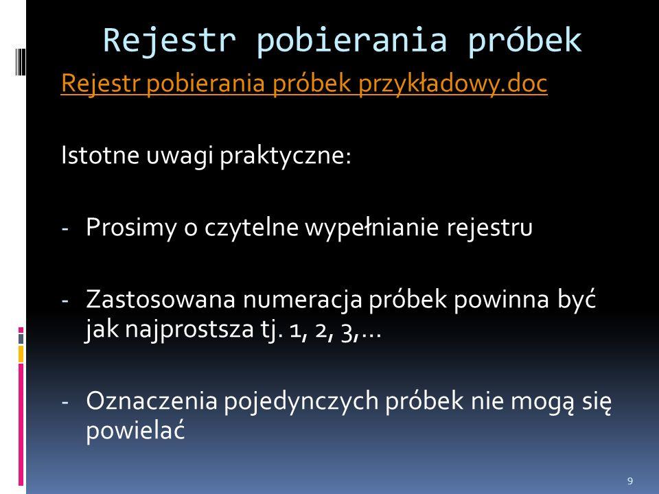 Rejestr pobierania próbek Rejestr pobierania próbek przykładowy.doc Istotne uwagi praktyczne: - Prosimy o czytelne wypełnianie rejestru - Zastosowana