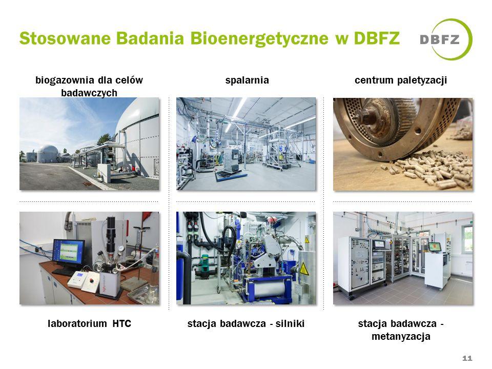 Stosowane Badania Bioenergetyczne w DBFZ 11 biogazownia dla celów badawczych spalarniacentrum paletyzacji laboratorium HTCstacja badawcza - silnikista