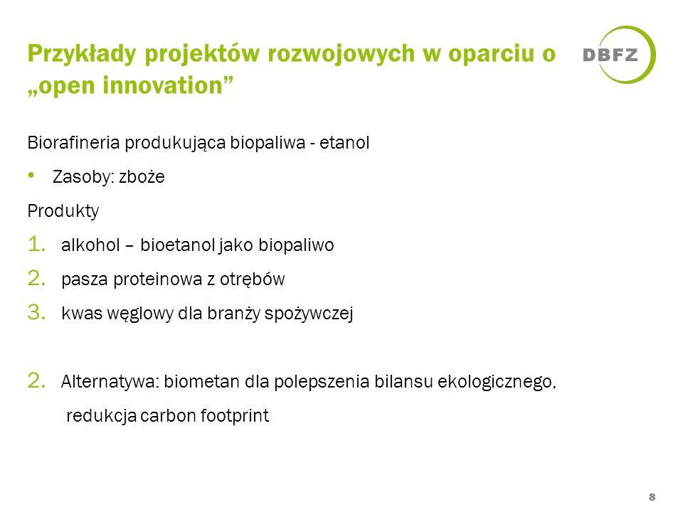 Przykłady projektów rozwojowych w oparciu o open innovation 8 Biorafineria produkująca biopaliwa - etanol Zasoby: zboże Produkty 1. alkohol – bioetano