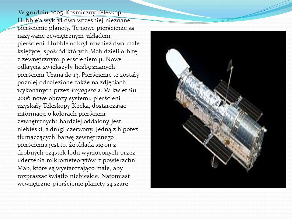 W grudniu 2005 Kosmiczny Teleskop Hubble a wykrył dwa wcześniej nieznane pierścienie planety.