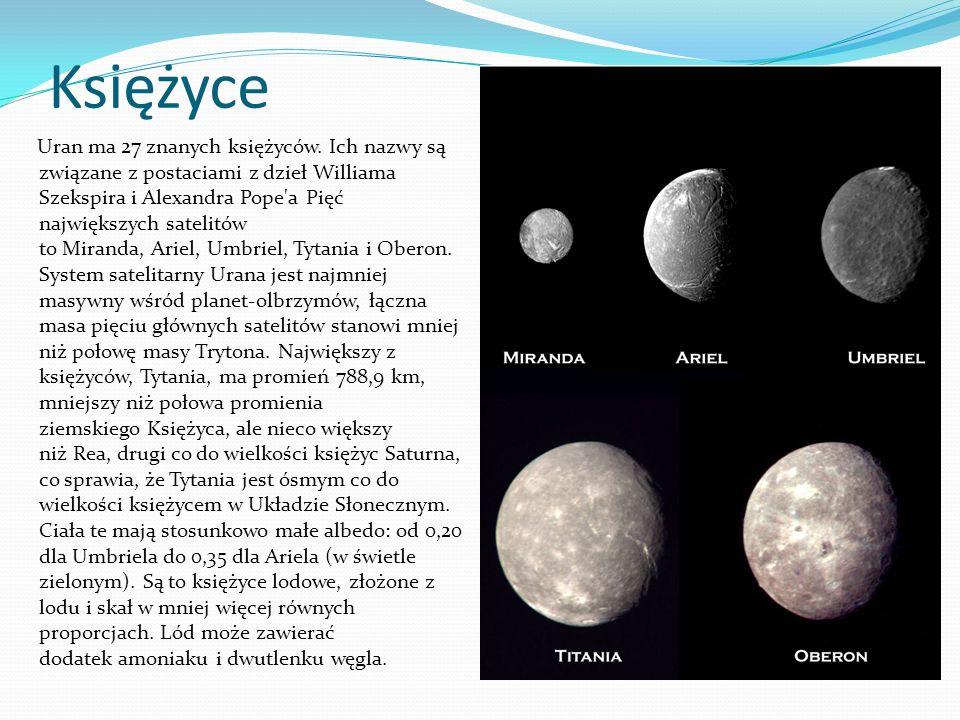 Wśród tych satelitów powierzchnia Ariela wydaje się być najmłodszą (z najmniejszą liczbą kraterów), a Umbriela – najstarszą.