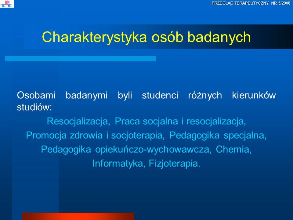 Osobami badanymi byli studenci różnych kierunków studiów: Resocjalizacja, Praca socjalna i resocjalizacja, Promocja zdrowia i socjoterapia, Pedagogika