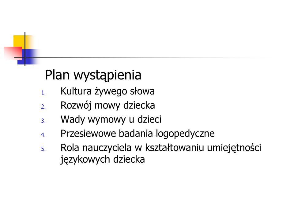 Plan wystąpienia 1.Kultura żywego słowa 2. Rozwój mowy dziecka 3.