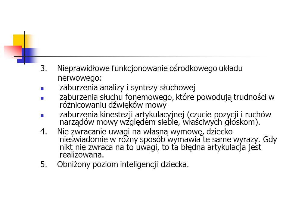 3. Nieprawidłowe funkcjonowanie ośrodkowego układu nerwowego: zaburzenia analizy i syntezy słuchowej zaburzenia słuchu fonemowego, które powodują trud