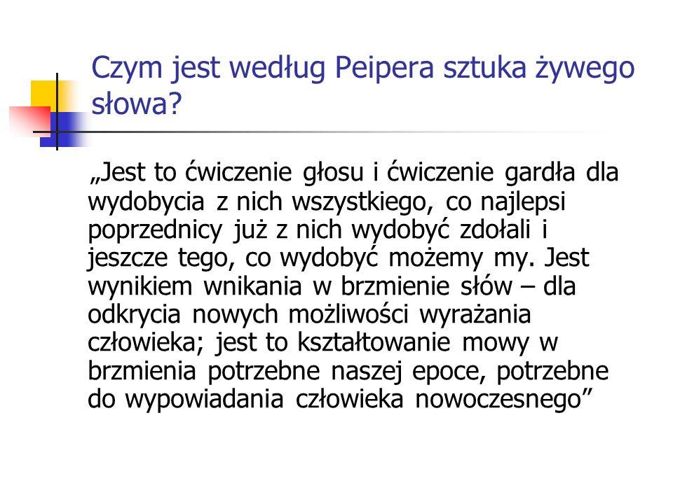 Czym jest według Peipera sztuka żywego słowa.