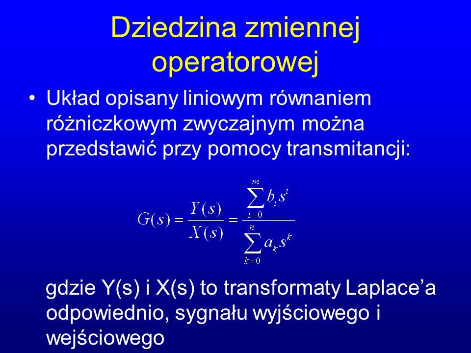 Dziedzina zmiennej operatorowej Układ opisany liniowym równaniem różniczkowym zwyczajnym można przedstawić przy pomocy transmitancji: gdzie Y(s) i X(s) to transformaty Laplacea odpowiednio, sygnału wyjściowego i wejściowego