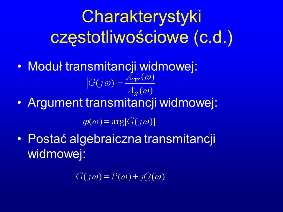Charakterystyki częstotliwościowe (c.d.) Moduł transmitancji widmowej: Argument transmitancji widmowej: Postać algebraiczna transmitancji widmowej: