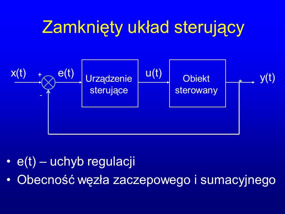 Zamknięty układ sterujący e(t) – uchyb regulacji Obecność węzła zaczepowego i sumacyjnego x(t) Urządzenie sterujące y(t) u(t) Obiekt sterowany + - e(t