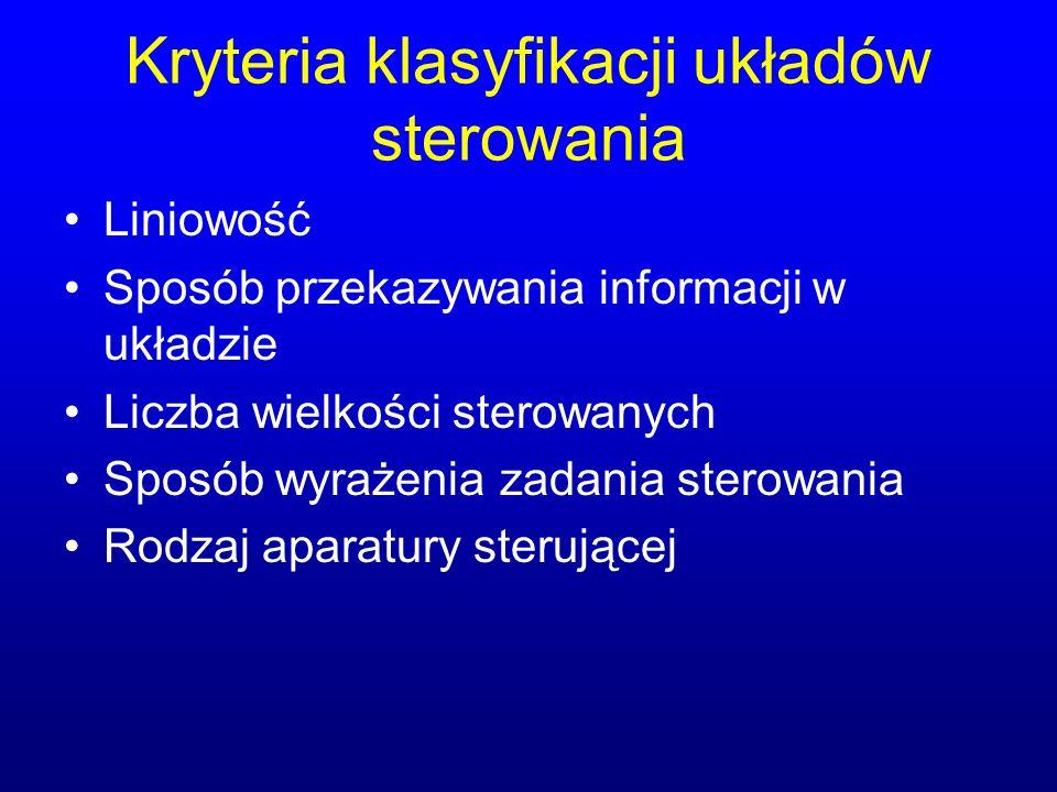 Kryteria klasyfikacji układów sterowania Liniowość Sposób przekazywania informacji w układzie Liczba wielkości sterowanych Sposób wyrażenia zadania st