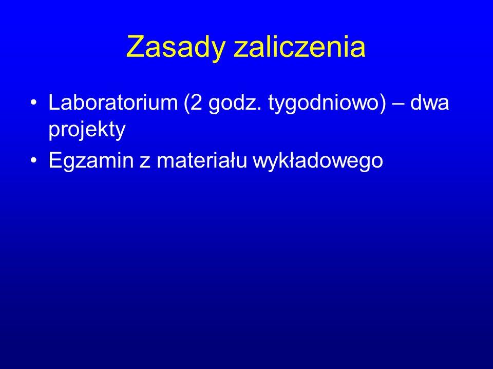 Zasady zaliczenia Laboratorium (2 godz. tygodniowo) – dwa projekty Egzamin z materiału wykładowego