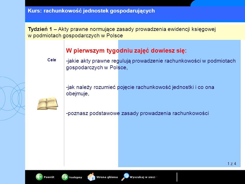 Kurs: rachunkowość jednostek gospodarujących Cele W pierwszym tygodniu zajęć dowiesz się: -jakie akty prawne regulują prowadzenie rachunkowości w podmiotach gospodarczych w Polsce, -jak należy rozumieć pojęcie rachunkowość jednostki i co ona obejmuje, -poznasz podstawowe zasady prowadzenia rachunkowości Tydzień 1 – Akty prawne normujące zasady prowadzenia ewidencji księgowej w podmiotach gospodarczych w Polsce 1 z 4