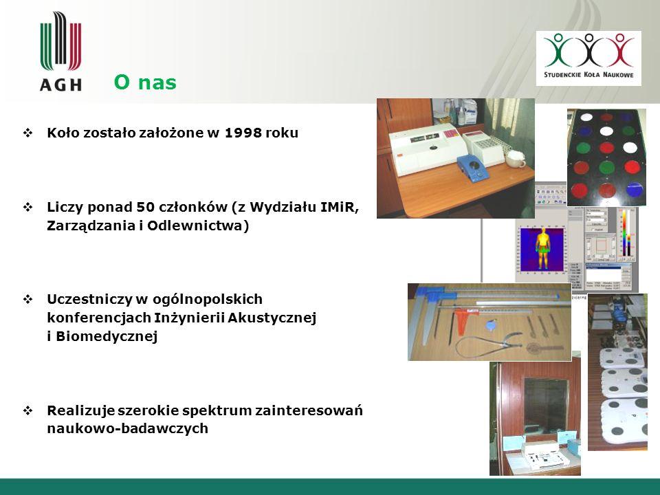 O nas Koło zostało założone w 1998 roku Liczy ponad 50 członków (z Wydziału IMiR, Zarządzania i Odlewnictwa) Uczestniczy w ogólnopolskich konferencjach Inżynierii Akustycznej i Biomedycznej Realizuje szerokie spektrum zainteresowań naukowo-badawczych
