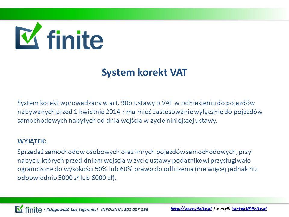 System korekt VAT System korekt wprowadzany w art.