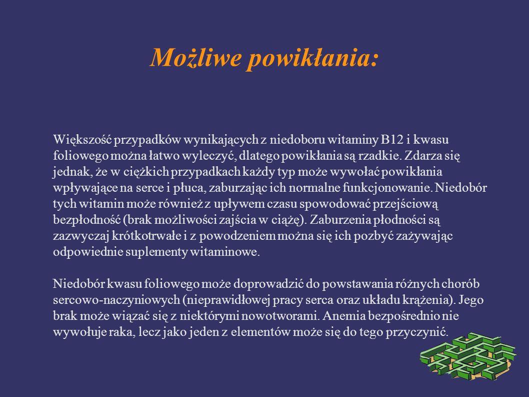 Możliwe powikłania: Większość przypadków wynikających z niedoboru witaminy B12 i kwasu foliowego można łatwo wyleczyć, dlatego powikłania są rzadkie.