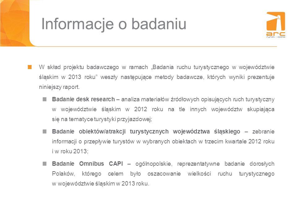 Informacje o badaniu W skład projektu badawczego w ramach Badania ruchu turystycznego w województwie śląskim w 2013 roku weszły następujące metody bad