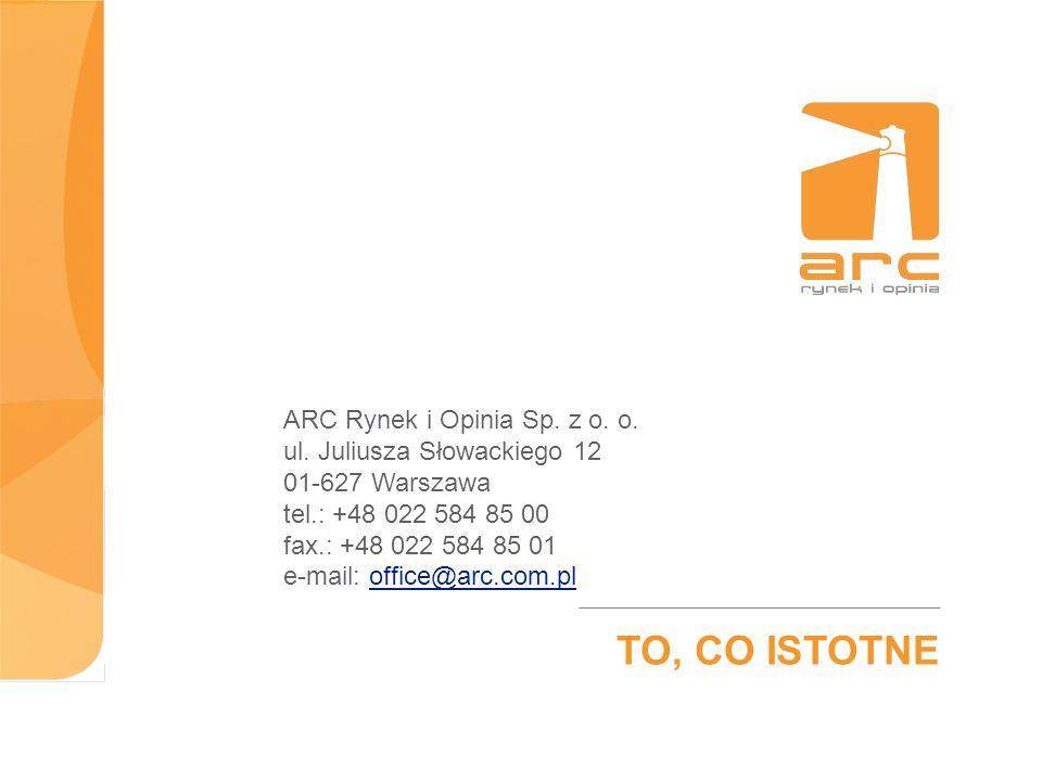 ARC Rynek i Opinia Sp. z o. o. ul. Juliusza Słowackiego 12 01-627 Warszawa tel.: +48 022 584 85 00 fax.: +48 022 584 85 01 e-mail: office@arc.com.plof