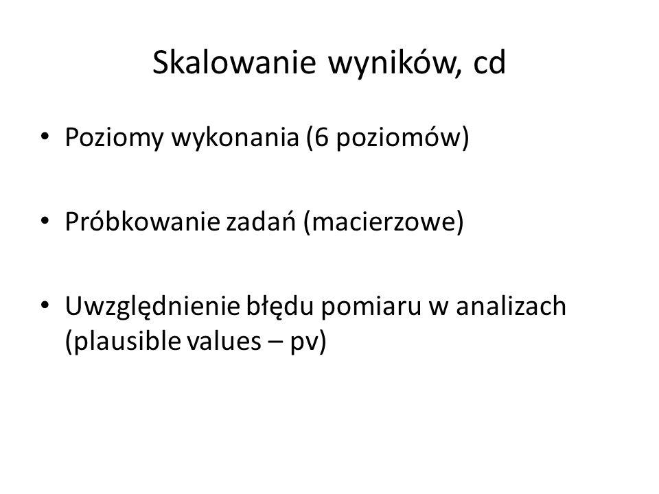 Skalowanie wyników, cd Poziomy wykonania (6 poziomów) Próbkowanie zadań (macierzowe) Uwzględnienie błędu pomiaru w analizach (plausible values – pv)