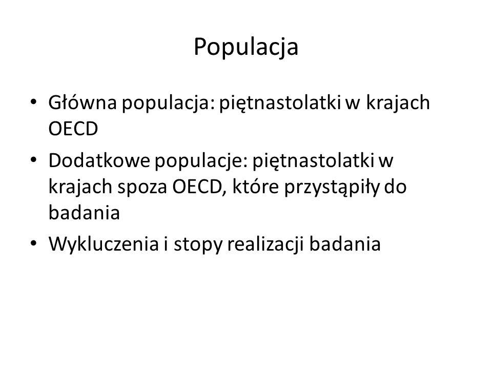 Populacja Główna populacja: piętnastolatki w krajach OECD Dodatkowe populacje: piętnastolatki w krajach spoza OECD, które przystąpiły do badania Wyklu