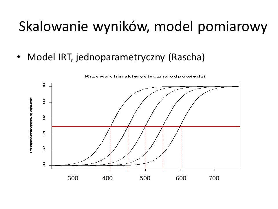 Skalowanie wyników, model pomiarowy Model IRT, jednoparametryczny (Rascha) 300 400 500 600 700
