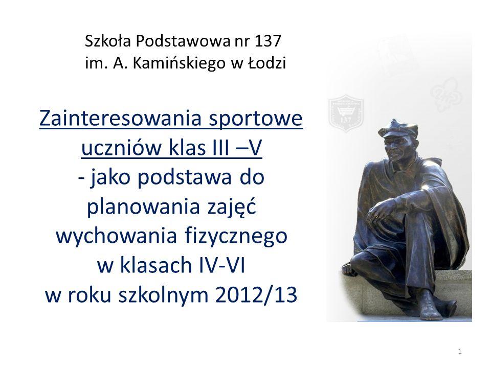 Zainteresowania sportowe uczniów klas III –V - jako podstawa do planowania zajęć wychowania fizycznego w klasach IV-VI w roku szkolnym 2012/13 Szkoła Podstawowa nr 137 im.