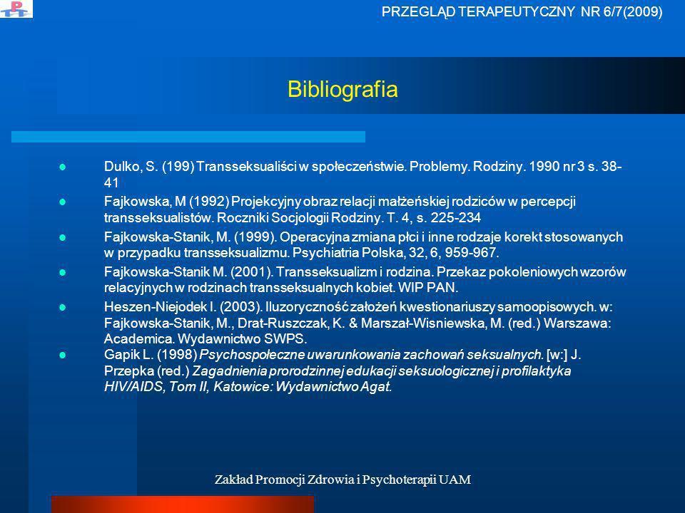 Zakład Promocji Zdrowia i Psychoterapii UAM Bibliografia Dulko, S. (199) Transseksualiści w społeczeństwie. Problemy. Rodziny. 1990 nr 3 s. 38- 41 Faj