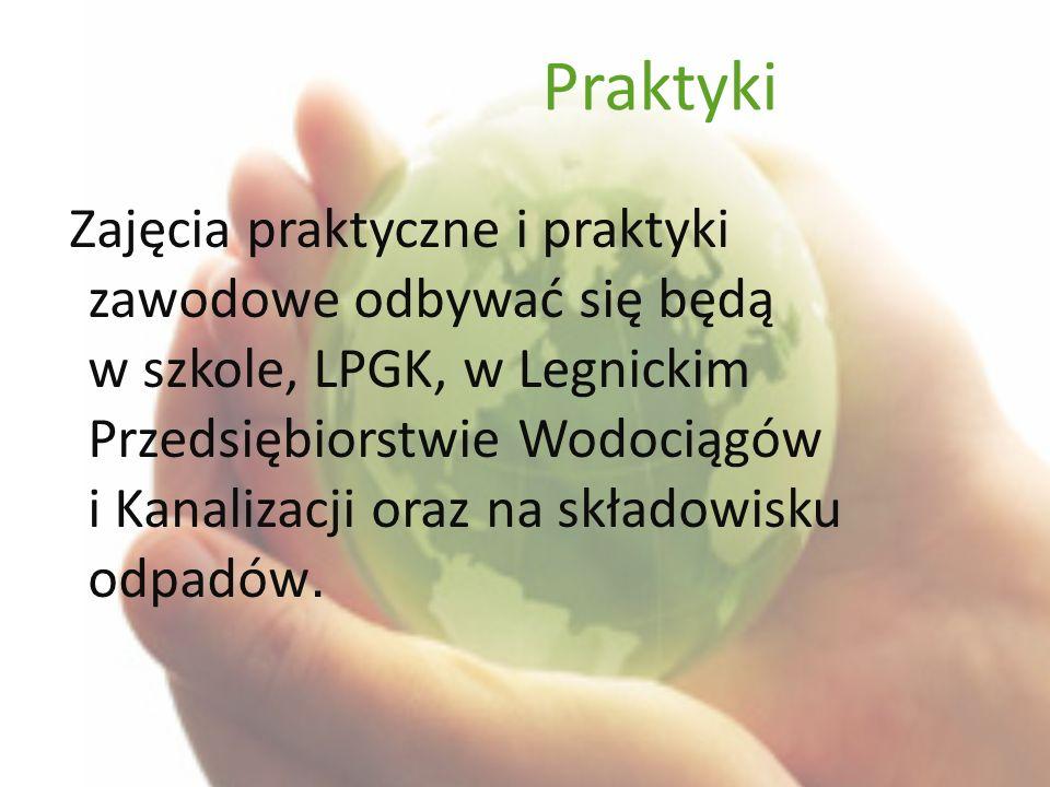 Praktyki Zajęcia praktyczne i praktyki zawodowe odbywać się będą w szkole, LPGK, w Legnickim Przedsiębiorstwie Wodociągów i Kanalizacji oraz na składowisku odpadów.